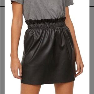 Zara Knit Faux Leather PaperBag High Waisted Skirt